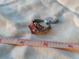 Pink Square Stone White Stone Accents Stainless Steel Ring Size 9 image 7
