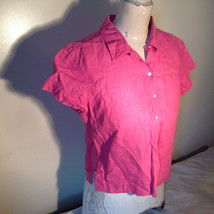 Pink Short Sleeve Button Down with Collar Front Pockets Top Kate Hill Size PL image 5
