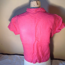 Pink Short Sleeve Button Down with Collar Front Pockets Top Kate Hill Size PL image 7