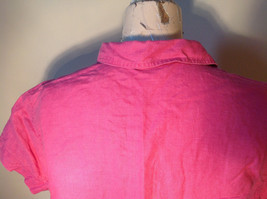 Pink Short Sleeve Button Down with Collar Front Pockets Top Kate Hill Size PL image 8