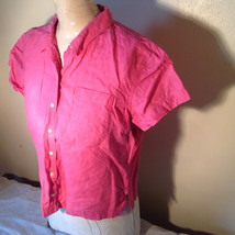 Pink Short Sleeve Button Down with Collar Front Pockets Top Kate Hill Size PL image 4