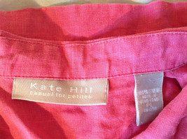 Pink Short Sleeve Button Down with Collar Front Pockets Top Kate Hill Size PL image 10