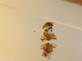 Micro miniature small hand blown glass yellow brown teddy bear made in USA  NIB image 3