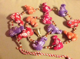 Mini Fabric Elephant Strand w Beads and Bells String Connector image 2