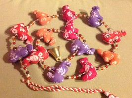 Mini Fabric Elephant Strand w Beads and Bells String Connector image 3