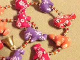 Mini Fabric Elephant Strand w Beads and Bells String Connector image 6