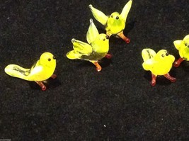 Micro miniature small hand blown glass yellow bird finch or canary USA made image 5