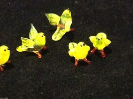 Micro miniature small hand blown glass yellow bird finch or canary USA made image 4