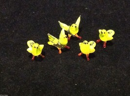 Micro miniature small hand blown glass yellow bird finch or canary USA made image 7