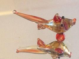 Micro miniature small hand blown glass yellow orange red tropical fish image 4