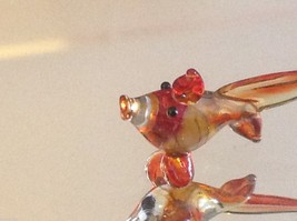 Micro miniature small hand blown glass yellow orange red tropical fish image 2