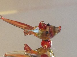 Micro miniature small hand blown glass yellow orange red tropical fish image 5