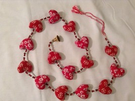 Mini Patterns Fabric Red Hearts Strand w Beads and Bells String Connector image 2