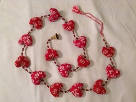 Mini Patterns Fabric Red Hearts Strand w Beads and Bells String Connector image 3