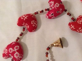 Mini Patterns Fabric Red Hearts Strand w Beads and Bells String Connector image 4