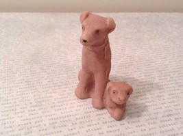 Miniature ceramic Dog With Puppy Figurine, Collectible, Cute image 2