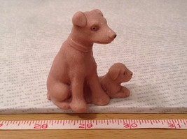Miniature ceramic Dog With Puppy Figurine, Collectible, Cute image 6