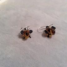 Miniature small hand blown glass made USA NIB orange black bird  earrings image 2