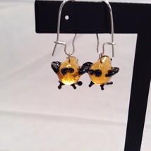 Miniature small hand blown glass made USA NIB orange black bird  earrings image 4