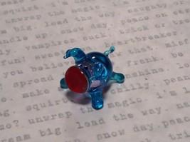 Miniature small hand blown glass light blue piglet  made USA NIB image 2