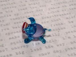 Miniature small hand blown glass light blue piglet  made USA NIB image 3