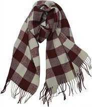 Buffalo Check Plaid Extra Large Warm Soft Wool Feel Scarf, Burgundy - £6.85 GBP
