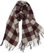 Buffalo Check Plaid Extra Large Warm Soft Wool Feel Scarf, Burgundy - $11.38 CAD