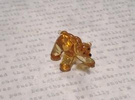 Miniature small hand blown glass yellow amber bear made USA NIB image 2