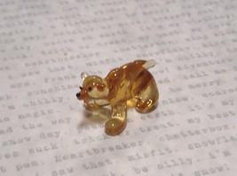 Miniature small hand blown glass yellow amber bear made USA NIB image 3