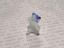 Miniature small hand blown glass white dog w blue bow made USA NIB image 4