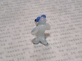 Miniature small hand blown glass white dog w blue bow made USA NIB image 3
