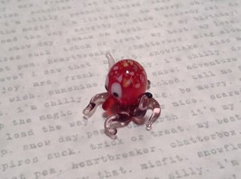 Miniature small hand blown glass red octopus made USA NIB image 3