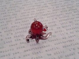 Miniature small hand blown glass red octopus made USA NIB image 5