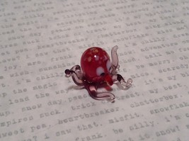Miniature small hand blown glass red octopus made USA NIB image 6