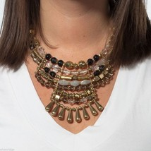 Multi metallic finish grandeur statement bib necklace image 2