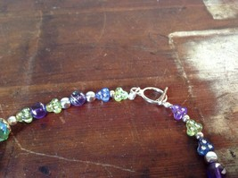 Multi Bead Green Purple Necklace Crystals Different Size Beads 17 Inches Long image 4