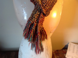 Multicolored Fuzzy Scarf Possibly Handmade Length Approximately 68 Inches image 2