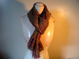 Multicolored Fuzzy Scarf Possibly Handmade Length Approximately 68 Inches image 3