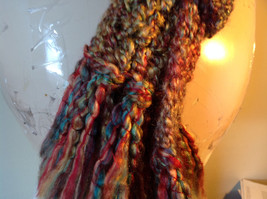 Multicolored Fuzzy Scarf Possibly Handmade Length Approximately 68 Inches image 4