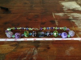 Multi Bead Green Purple Necklace Crystals Different Size Beads 17 Inches Long image 6