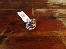 Multiband 3 Violet CZ Handcrafted 925 Sterling Silver Stackers Ring Size 7 OR 8 image 5