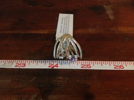 Multiband 3 Violet CZ Handcrafted 925 Sterling Silver Stackers Ring Size 7 OR 8 image 6