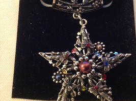 Multicolored Silver Tone Star Shaped Scarf Pendant  Star 2 Inches Wide image 2
