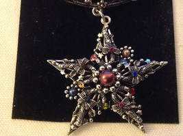 Multicolored Silver Tone Star Shaped Scarf Pendant  Star 2 Inches Wide image 3