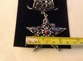 Multicolored Silver Tone Star Shaped Scarf Pendant  Star 2 Inches Wide image 4