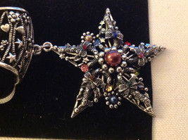 Multicolored Silver Tone Star Shaped Scarf Pendant  Star 2 Inches Wide image 6