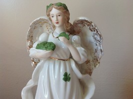 Music Box Angel White Angel Holding Clovers Gold Outlining by Raman Incorporated image 2