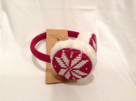 NEW Red White Ear Muffs Warmers Knit Faux Fur Inside Snowflake Design One Size image 2