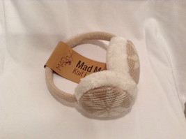 NEW Tan White Ear Muffs Warmers Knit Faux Fur Inside Snowflake Design One Size image 2