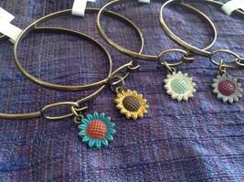 NEW bangle bracelet w Sunflower Charm choice of color USA made image 3
